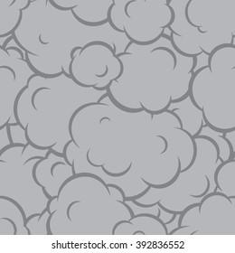 Pop art smoke seamless vector pattern grey