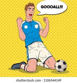 Pop Art Soccer Player Celebrating Goal. Happy Footballer, Sport Concept, World Cup. Vector illustration