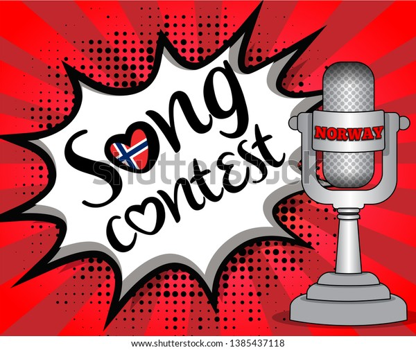 Pop Art Song Contest Country Flag Stock Vector (Royalty Free) 1385437118