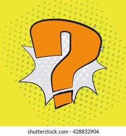 Pop art speech bubble with question mark, perplexity comic book speech bubble, colorful speech bubble, vector