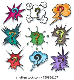 Pop art speech bubble question marks. Cartoon questions box set isolated on white background, vector illustration