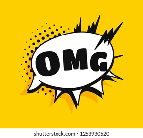 Pop art speech bubble with text OMG. Cartoon style vector collection of frames. Comic illustration on yellow background