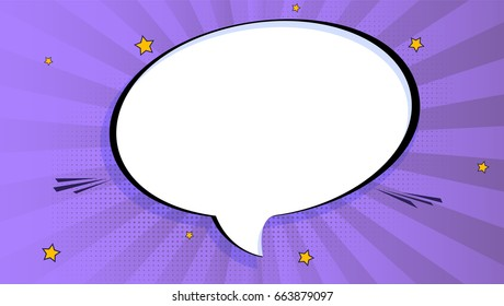 Pop art splash background, explosion in comics book style, blank layout template with halftone dots, clouds beams and isolated dots pattern on violet backdrop. Vector template for ad, covers, posters.