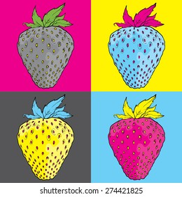 pop art strawberry