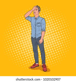 Pop Art Stressed Man Covering his Face with Hand. Negative Emotion Facial Expression. Vector illustration