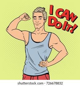 Pop Art Strong Man Bodybuilder. Male Athlete. Vector illustration
