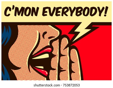 Pop Art style comic book panel girl calling and yelling out loud with speech bubble, call to action concept vector illustration