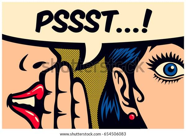 Pop-Art stile fumetto pannello gossip girl sussurra in orecchio segreti con bolla discorso, voce, passaparola concetto vettoriale illustrazione