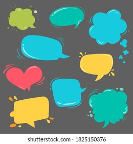 Pop art style. Comic template dialog callout. Bubbles and colorful frames  on grey background