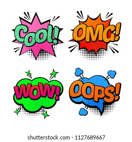 pop art style comic WOW, OMG, COOL, OOPS speech bubble. Vector bright dynamic cartoon illustration with WOW, OMG, COOL, OOPS text. Pop art style blank with expressio OMG, COOL and OOPS