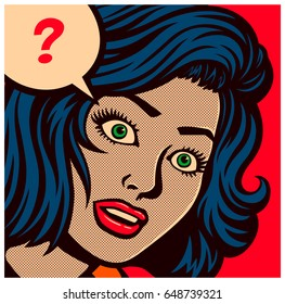 Pop art style comics panel with perplexed, puzzled or confused woman and speech bubble with question mark vector poster design illustration