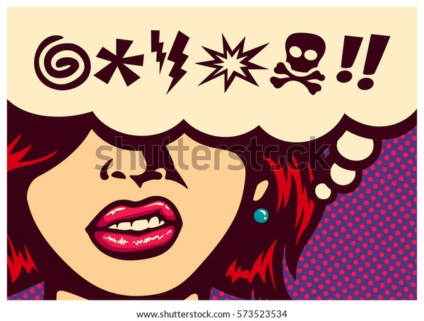 Pop art style comics panel angry woman grinding teeth with speech bubble and swear words symbols vector poster design illustration