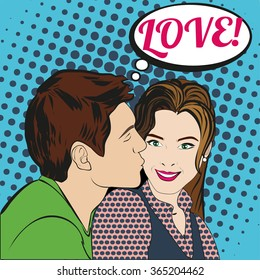 pop art style couple kissing. man and woman in love on valentine day. retro vector illustration