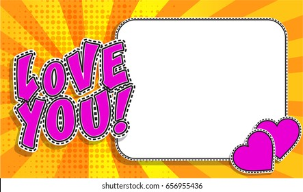 """Pop Art Style design Postcard, Horizontal frame greeting card. """"Love You!"""" sign Invitation card. Vector Illustration. with a white empty space inside for your text or image."""