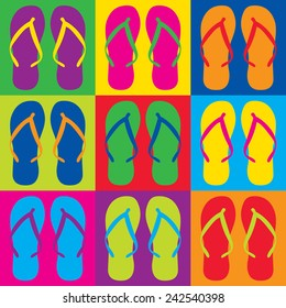 Pop Art style flip flops in a colorful checkerboard design.