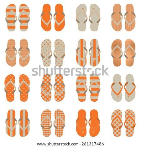 4835fa5e7 Pop Art style flip flops in a colorful checkerboard design. 10 eps - Vector