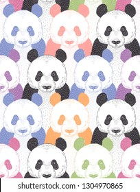pop art style vector seamless pattern with cute colourful panda portrait