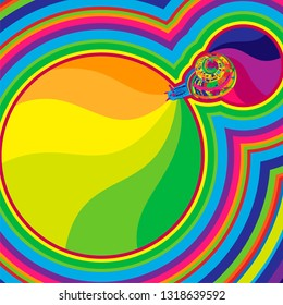 Pop art of stylized rainbow snail on colored background. Psychedelic abstract background colorful striped swirls with seashell. Modern trendy art. Groovy geometric vector illustration