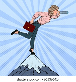 Pop Art Successful Businesswoman with Telescope on the Top of the Mountain. Business Vision. Vector illustration