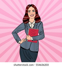 Pop Art Successful Smiling Business Woman Holding Folder. Vector illustration