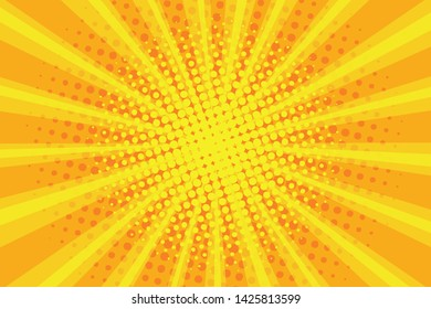 Pop art sunburst pattern, comic halftone background. Retro explosion backdrop. Radial rays with dots, yellow sunbeam. Vector illustration.