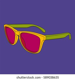 Pop art sunglasses image. Illustrated fashion dictionary.