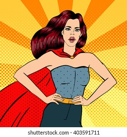 Pop Art Super Woman. Female Hero. Strong Female Superhero. Vector illustration