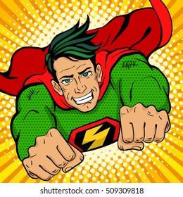 Pop art superhero. Young handsome happy man in a superhero costume with a lightning sign on the chest flies smiling. Vector illustration in retro pop art comic style.