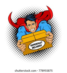 Pop art superhero. Young handsome happy man in a superhero costume flies holding big box with super fast delivery text. Vector illustration in retro pop art comic style isolated on white background.