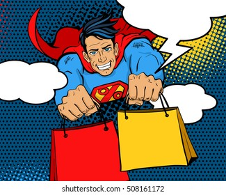 Pop art superhero. Young  happy man in a superhero costume with a percent sign on the chest flies with shopping bags and speech bubbles smiling. Vector illustration in retro pop art comic style.