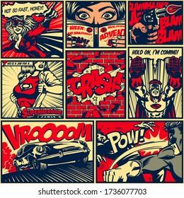 Pop art superheroes comic book page layout seamless pattern background vintage comics design vector illustration