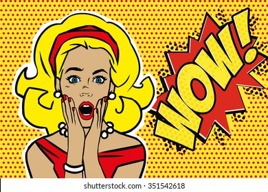 Pop art surprised blond woman face with open mouth. Comic woman with speech bubble. Wow! Vector illustration.