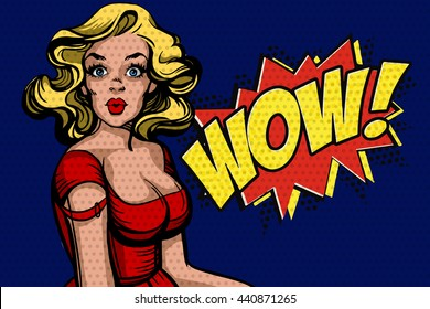 Pop art surprised blond woman. Comic woman with speech bubble Wow! Vector illustration isolate over blue dotted background