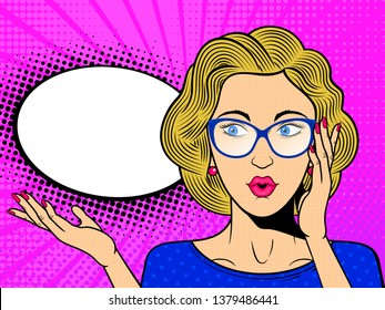 Pop art surprised female face with. Comic blonde woman in glasses with speech bubble. Retro pink dotted background. Stock vector illustration.