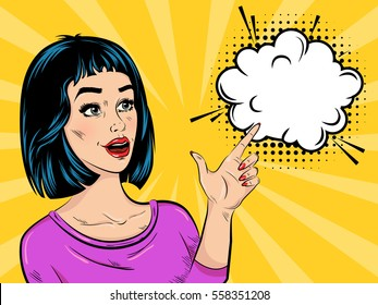 Pop art surprised girl in purple blouse with speech bubble and halftone effect on comic background vector illustration