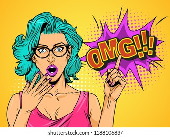 Pop art surprised pretty girl in red dress with glasses and bow pointing at comic speech bubble vector illustration