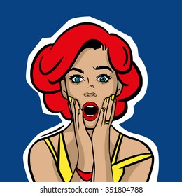Pop art surprised woman face with open mouth. Vector illustration.