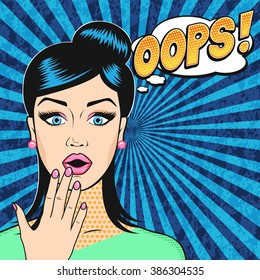 Pop art surprised woman face with open mouth and OOPS bubble in retro comic style