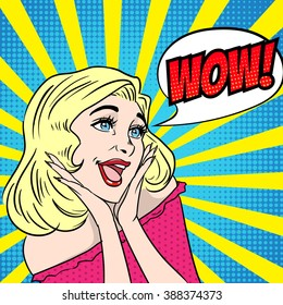 Pop Art surprised woman. Retro comic poster. Vector illustration.