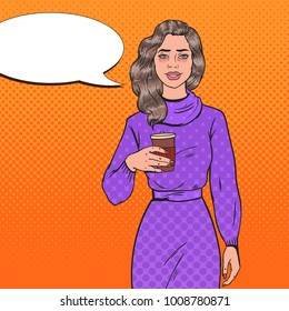 Pop Art Tired Asleep Beautiful Woman with Morning Coffee. Awaked Exhausted Girl. Vector illustration