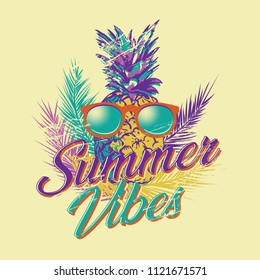 Pop art Vector illustration of pineapple wearing glasses, vintage retro with distressed look, print design template with text Summer Vibes