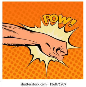 Pop art vector illustration.Fist hitting or punching