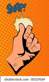 Pop art vector illustration.Hand snapping fingers