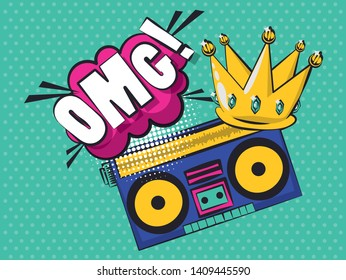 Pop art vibrant retro exclamation bubble crown jewels boombox colorful card background vector illustration graphic design