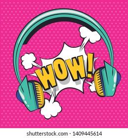 Pop art vibrant retro exclamation bubble wow headphones colorful card background vector illustration graphic design