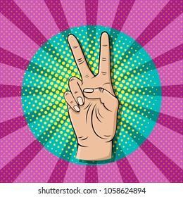 Pop art victory sign gesture, thumb up hand vector illustration.