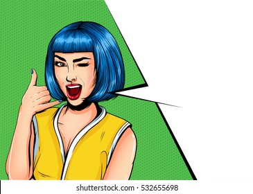 Pop Art Vintage advertising poster comic girl with speech bubble. Pretty girl showing call me gesture vector illustration