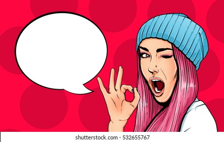Pop Art Vintage advertising poster comic girl with speech bubble. Pretty girl giving ok gesture vector illustration