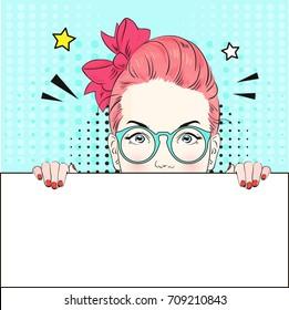Pop Art Vintage advertising poster comic pink hair girl in blue round glasses holds a white banner. Vector illustration