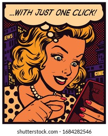 Pop art vintage comic book style woman texting, messaging, surfing website or using app on a smartphone with speech bubble, simple user experience concept vector poster illustration